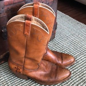 Vintage Dingo brown leather cowboy western boots